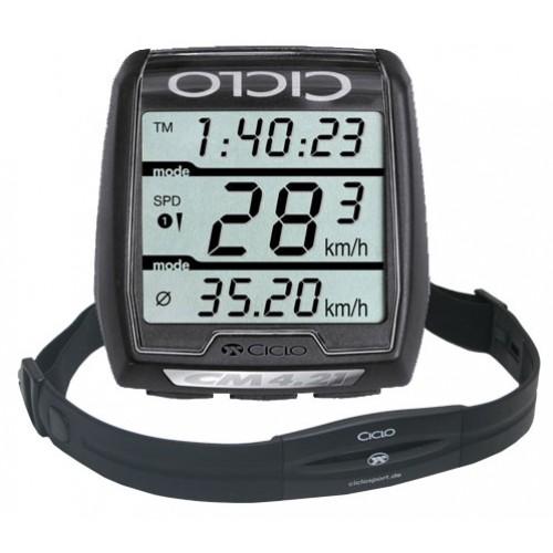 Trådlös cykeldator med pulsmätare CicloSport CM 4.21 HR inkl. Pulsband