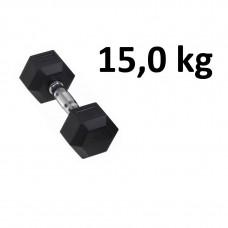 Gummi / Kromhantel HEX Master Fitness 15,0 kg