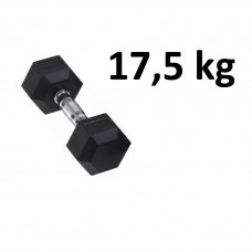 Gummi / Kromhantel HEX Master Fitness 17,5 kg