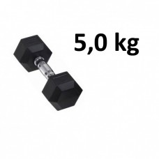 Gummi / Kromhantel HEX Master Fitness 5,0 kg