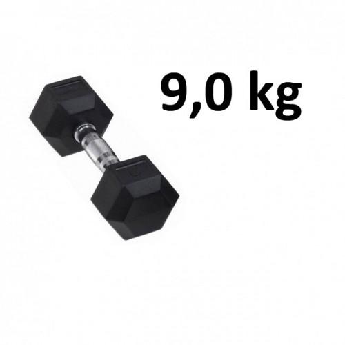 Gummi / Kromhantel HEX Master Fitness 9,0 kg