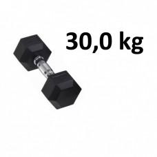 Gummi / Kromhantel HEX Master Fitness 30,0 kg