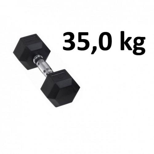Gummi / Kromhantel HEX Master Fitness 35,0 kg