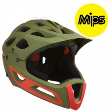 Downhillhjälm Lazer Rev FFMatt Khaki Orange MIPS