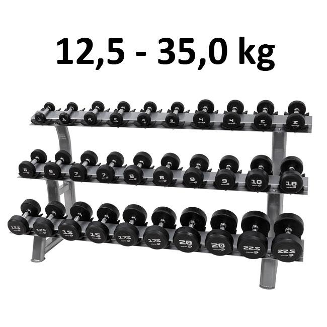 Hantelset 12,5-35,0 kg Rund Gummi / Krom Hantel Master Fitness