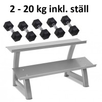 Gummi / Kromhantel HEX Master Fitness 2-20kg inkl. ställ