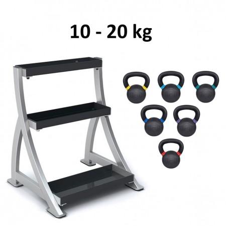 Kettlebell Master Fitness 10-20kg inkl. ställ