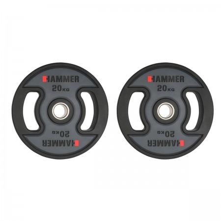 Gummiklädda internationella viktskivor Hammer 2x20 kg