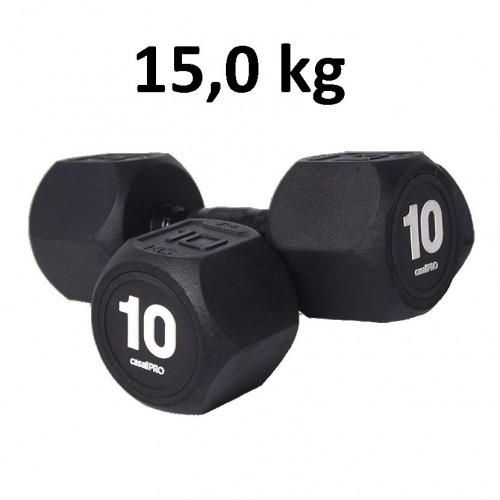 Hantel Casall Pro Hexagon Dumbbell Rubber 15.0 kg