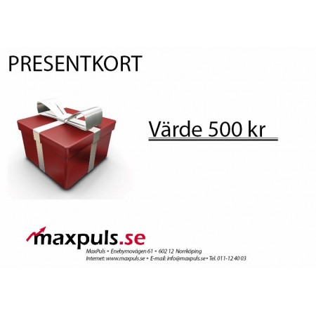 Presentkort MaxPuls.se 500 kr