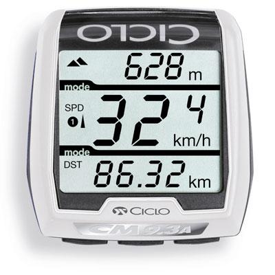 Bilden visar en cykeldator med tydlig display. Informationen visas på 3 displayrader.
