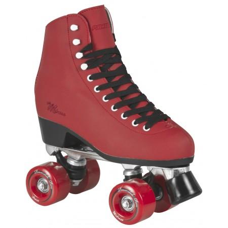 <h4>Rullskridskor</h4>  <p>Denna klassiska form av Rullskridskor har två hjulpar som svänger när du lutar dig åt sidan.</p>  <p>I fram på Rullskridskorna sitter en broms. Bromsen används även för att ta fart med.</p>  <p>Hjulen på rullskridskorna kan enkelt bytas till speciella för inomhus- och utomhuskörning.</p>