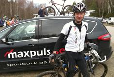 MaxPuls AB ägs av Robert och Carina Enemård. På bilden ses Robert efter en MTB-tävling.